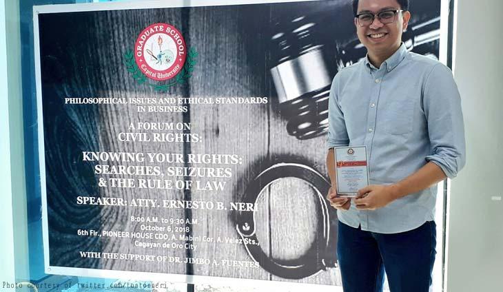 Facts only! Ernesto Neri speaks in Civil Rights forum : Abogado