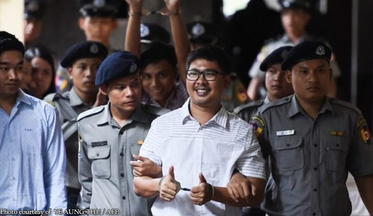 Reuters reporters excluded from list of 9,500 pardoned prisoners in Myanmar
